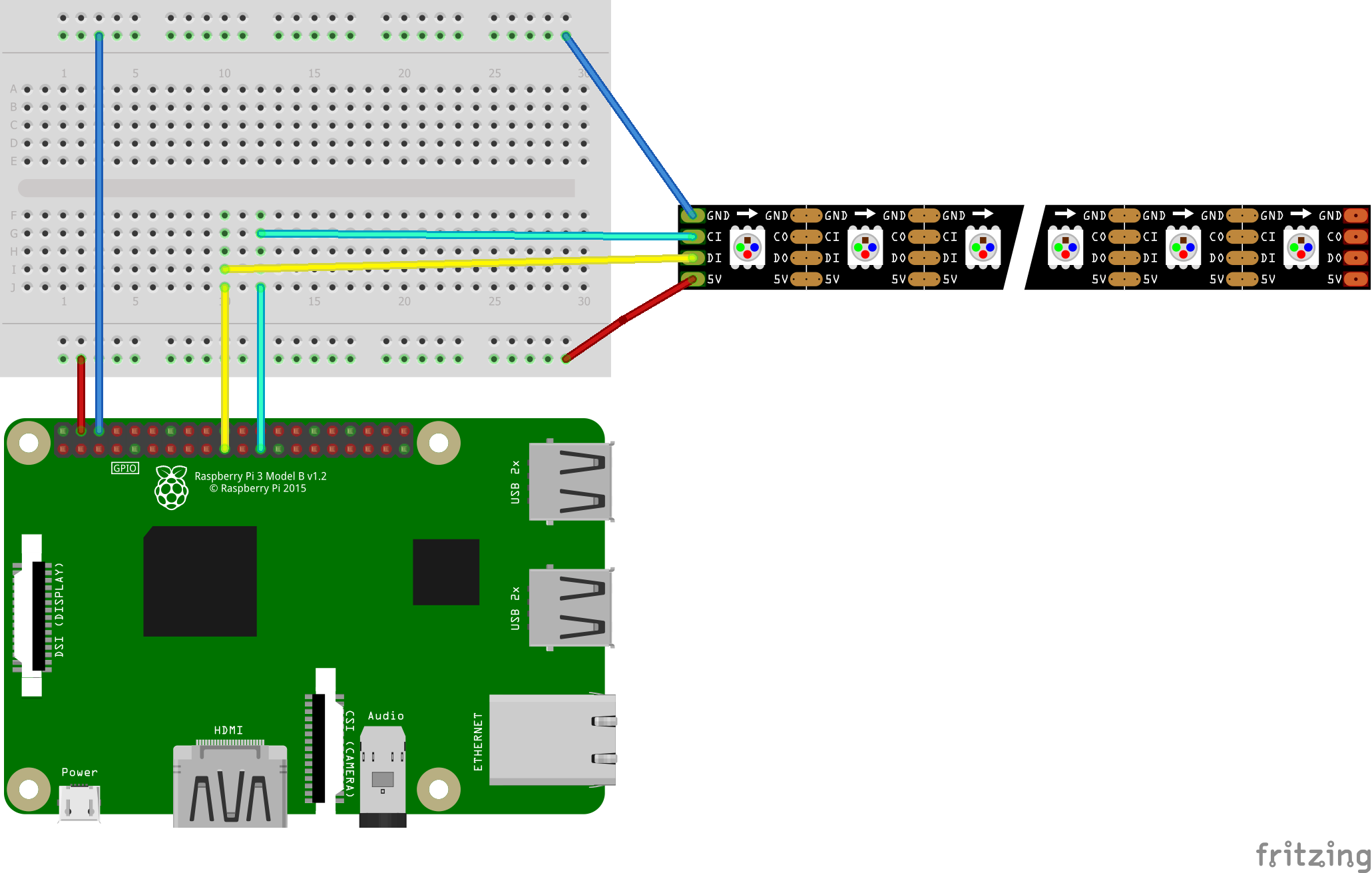 Connecting two independant APA102 SPI Led strips - Raspberry Pi Forums